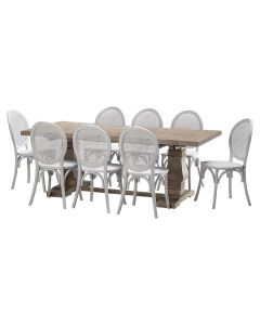 """""""Tuscany"""" 9 Piece Dining Package 210cm Hardwood Timber Dining Table with 8 Seychelles Chairs"""
