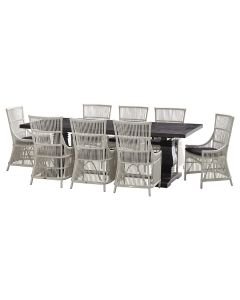 """""""Tuscany"""" 9 Piece Dining Package 240cm Hardwood Timber Dining Table with 8 Byron Chairs"""