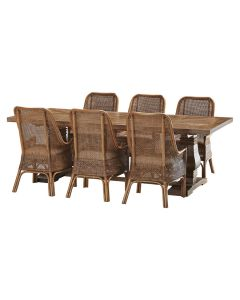 """""""Tuscany"""" 7 Piece Dining Package 240cm Hardwood Timber Dining Table with 6 Southbeach Chairs"""