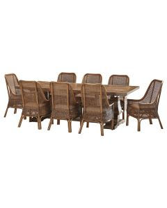 """""""Tuscany"""" 9 Piece Dining Package 240cm Hardwood Timber Dining Table with 8 Southbeach Chairs"""