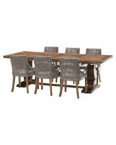 """""""Tuscany"""" 7 Piece Dining Package 240cm Hardwood Timber Dining Table with 6 Avoca Chairs"""