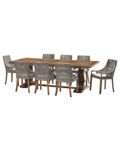 """""""Tuscany"""" 9 Piece Dining Package 240cm Hardwood Timber Dining Table with 8 Avoca Chairs"""