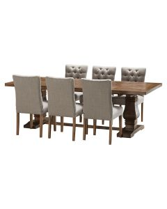 """""""Tuscany"""" 7 Piece Dining Package 240cm Hardwood Timber Dining Table with 6 Chloe Chairs"""
