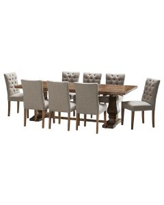 """""""Tuscany"""" 9 Piece Dining Package 240cm Hardwood Timber Dining Table with 8 Chloe Chairs"""