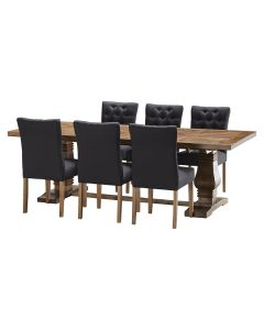 """""""Tuscany"""" 7 Piece Dining Package 240cm Solid Timber Dining Table with 6 Chloe Chairs"""