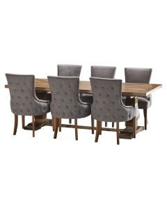 """""""Tuscany"""" 7 Piece Dining Package 240cm Hardwood Timber Dining Table with 6 Lauren Chairs"""