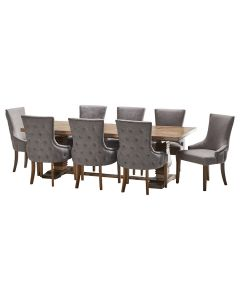 """""""Tuscany"""" 9 Piece Dining Package 240cm Hardwood Timber Dining Table with 8 Lauren Chairs"""