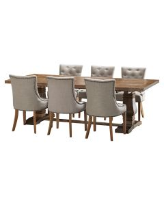"""""""Tuscany"""" 7 Piece Dining Package 240cm Hardwood Timber Dining Table with 6 Madison Chairs"""