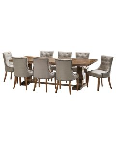 """""""Tuscany"""" 9 Piece Dining Package 240cm Hardwood Timber Dining Table with 8 Madison Chairs"""