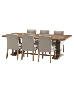 """""""Tuscany"""" 7 Piece Dining Package 240cm Hardwood Timber Dining Table with 6 Oscar Chairs"""