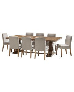 """""""Tuscany"""" 9 Piece Dining Package 240cm Hardwood Timber Dining Table with 8 Oscar Chairs"""