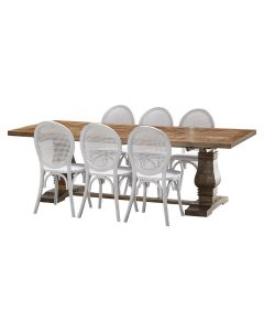 """""""Tuscany"""" 7 Piece Dining Package 240cm Hardwood Timber Dining Table with 6 Seychelles Chairs"""