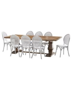 """""""Tuscany"""" 9 Piece Dining Package 240cm Hardwood Timber Dining Table with 8 Seychelles Chairs"""