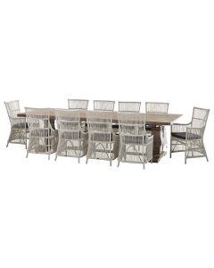 """""""Tuscany"""" 11 Piece Dining Package 300cm Hardwood Timber Dining Table with 10 Byron Chairs"""