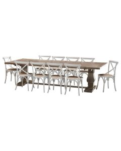 """""""Tuscany"""" 11 Piece Dining Package 300cm Hardwood Timber Dining Table with 10 Noosaville Chairs"""