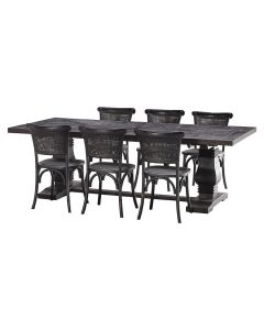 """""""Tuscany"""" 7 Piece Dining Package 240cm Hardwood Timber Dining Table with 6 Capri Chairs"""