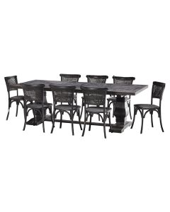 """""""Tuscany"""" 9 Piece Dining Package 240cm Hardwood Timber Dining Table with 8 Capri Chairs"""
