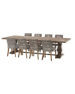 """""""Tuscany"""" 9 Piece Dining Package 300cm Hardwood Timber Dining Table with 8 Avoca Chairs"""