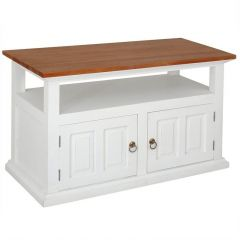 """Normandy"" White with Caramel Top Mahogany French Provincial Hardwood Timber TV Unit with 2 Doors"