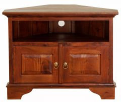 """Normandy"" Light Pecan French Provincial Corner Solid Mahogany Timber 90cm TV Unit with 2 Doors"