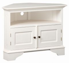 """Normandy"" Full White Top French Provincial Corner Solid Mahogany Timber 90cm TV Unit with 2 Doors"