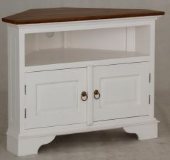 """Normandy"" Top French Provincial Corner Solid Mahogany Timber 90cm TV Unit with 2 Doors White Caramel"