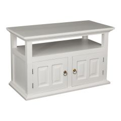 """Normandy"" All White Mahogany French Provincial Hardwood Timber TV Unit with 2 Doors"