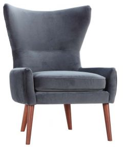 """""""Savoy"""" Dark Grey Occasional Contemporary High Back Wing Armchair Upholstered in Soft Touch Velvet"""