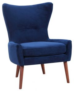 """""""Savoy"""" Occasional Contemporary High Back Wing Armchair Upholstered in Soft Touch Velvet"""