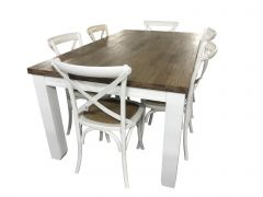 """Jefferson"" 7 Piece Solid Timber Dining Table with 6 Cross Back Chairs Package Vivid White Hampton Coastal Style"