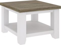 """Jefferson"" 60x60 Solid Timber Square Hampton Coastal Style Two Tone Lamp Table Brushed White with Walnut Top"