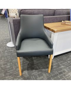 CLEARANCE SALE ROMA DINING CHAIR PU OAK LEGS GREY, 54X63X84CM (RRP $299) **ONLY 18 LEFT**