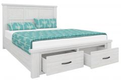 """Avalon"" Hamptons Style Brushed White Coastal Style Double Size Bed with Storage Drawers"