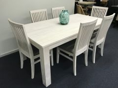 """Avalon"" 9 Piece Coastal Style White Wash Dining Package with 8 Dining Chairs 225cm Table"