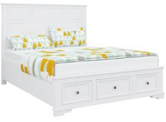 """Emily"" Hamptons Style Timber King Bed Frame White, 215cmL x 197cmD x 120cmH"
