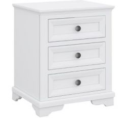 """Emily"" Hamptons Style Timber Bedside Table 3 Drawer White, 55cmL x 42cmD x 60cmH"