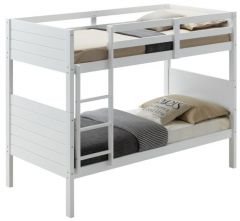 """Dewey"" White Coastal Shaker Hamptons Style Kids Single Over Single Bunk Bed"