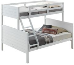 """Louie"" White Coastal Shaker Hamptons Style Kids Single Over Double Bunk Bed"