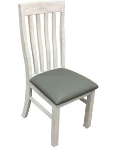 """Seaforth"" Solid Hardwood Timber Whitewash Dining Chair with Grey PU Seat"