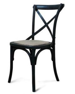 """Noosaville"" Timber Rattan Kitchen Seat Chair Cross Back Black, 50cmL x 48cmD x 88cmH"