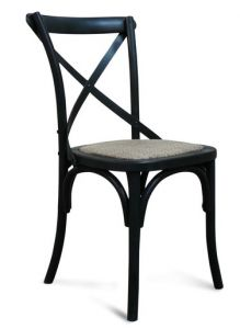 """Noosaville"" Timber Rattan Kitchen Seat Chair Cross Back Black, 50cmL x 48cmD x 88cmH"