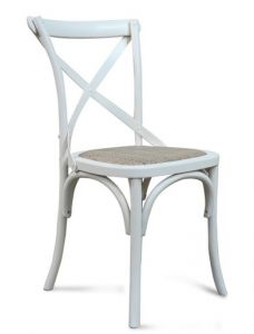 """Noosa"" Timber Rattan Dining Chair Cross Back Vivid Ice White, 50cmL x 48cmD x 88cmH"