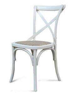 """Noosa"" Timber Rattan Dining Chair Cross Back Vivid Ice White, 50cmL x 48cmD x 88cmH"