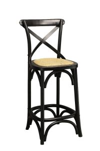 """Noosa"" Oak Hardwood Cross Back Bar Stool Kitchen Bench Height Black, 42cmL x 42cmD x 100cmH; Seat Height 65cm"