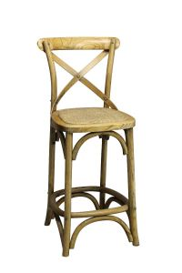 """Noosa"" Oak Hardwood Timber Cross Back Bar Stool Kitchen Bench Height, 42cmL x 42cmD x 100cmH; Seat Height 65cm"
