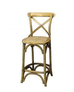 """Noosa"" Oak Hardwood Timber Cross Back Bar Stool Kitchen Bench Height, 42cmL x 42cmD x 100cmH; Seat Height 65cm"