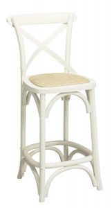 """Noosa""  Timber Rattan Kitchen Bar Stool Cross Back Vivid White, 42cmL x 42cmD x 100cmH; Seat Height 65cm"