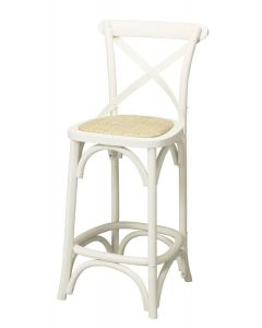 """Noosa""  Timber Rattan Kitchen Bar Stool Cross Back Vivid White, 42cmL x 42cmD x 100cmH; Seat Height 65cm"
