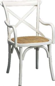 """Noosaville"" Hardwood Rattan Cross Back Carver Chair Seat Vivid White, 50cmL x 48cmD x 88cmH"
