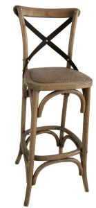"""Noosa"" Oak Cross Back Timber Bar Stool Metal Strap Kitchen Bench Height, 42cmL x 42cmD x 100cmH; Seat Height 65cm"